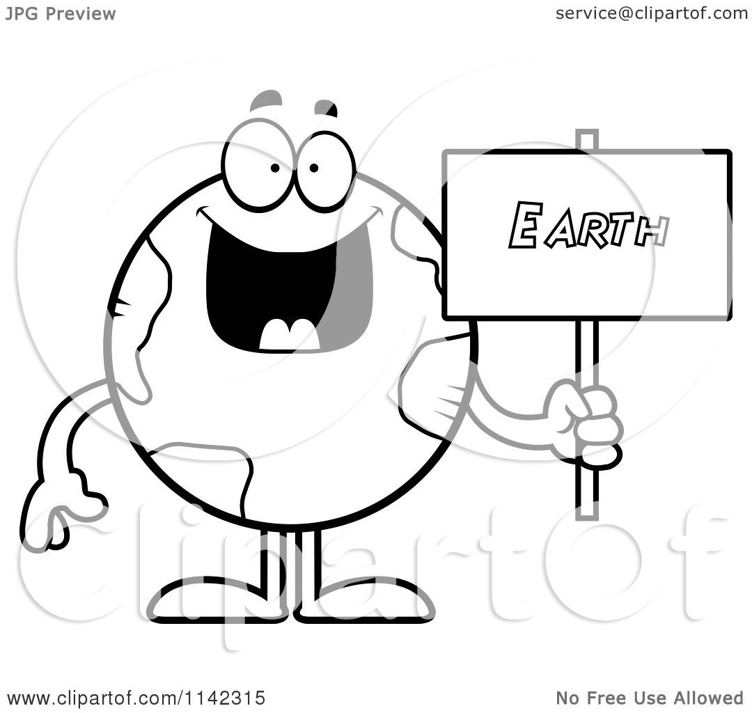 Cartoon Clipart Of A Black And White Earth Globe Holding A