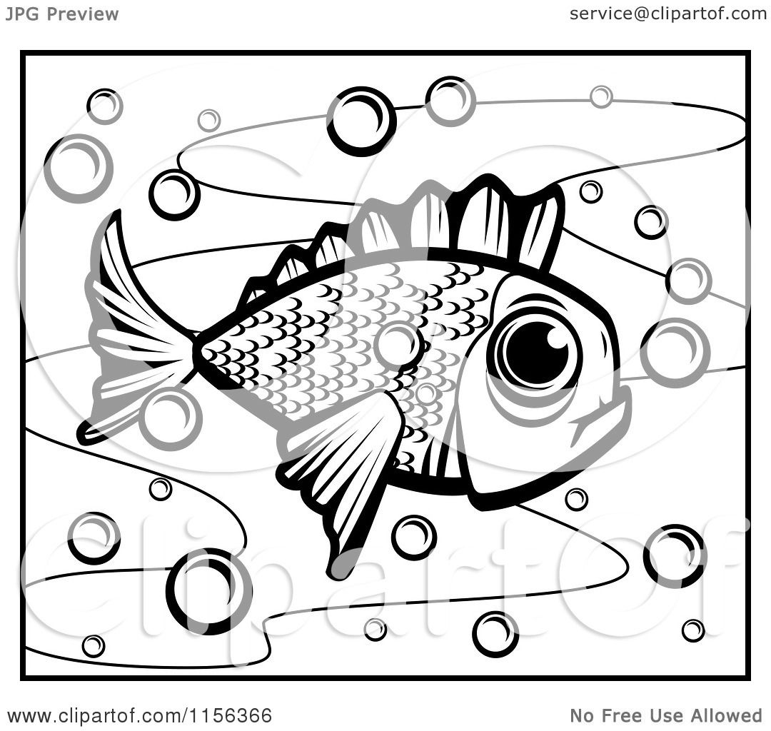 Cartoon Clipart Of A Black And White Fish In Bubbly Water