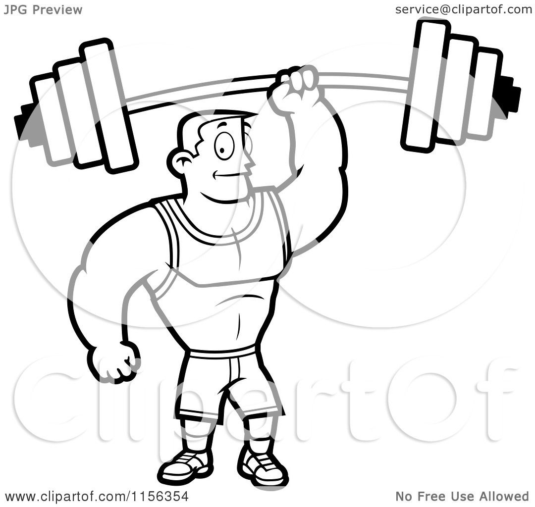 Cartoon Clipart Of A Black And White Fitness Man Holding