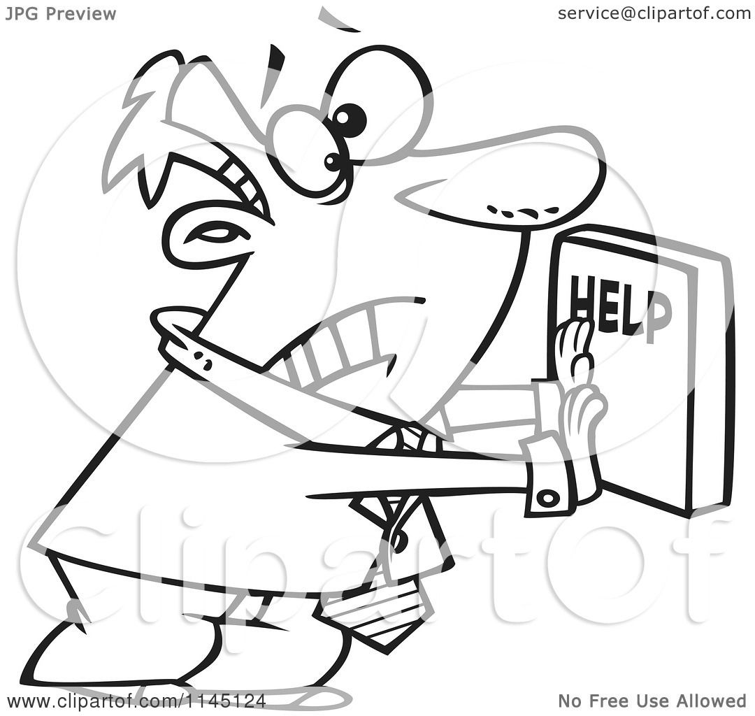 Cartoon Clipart Of A Black And White Frantic Businessman
