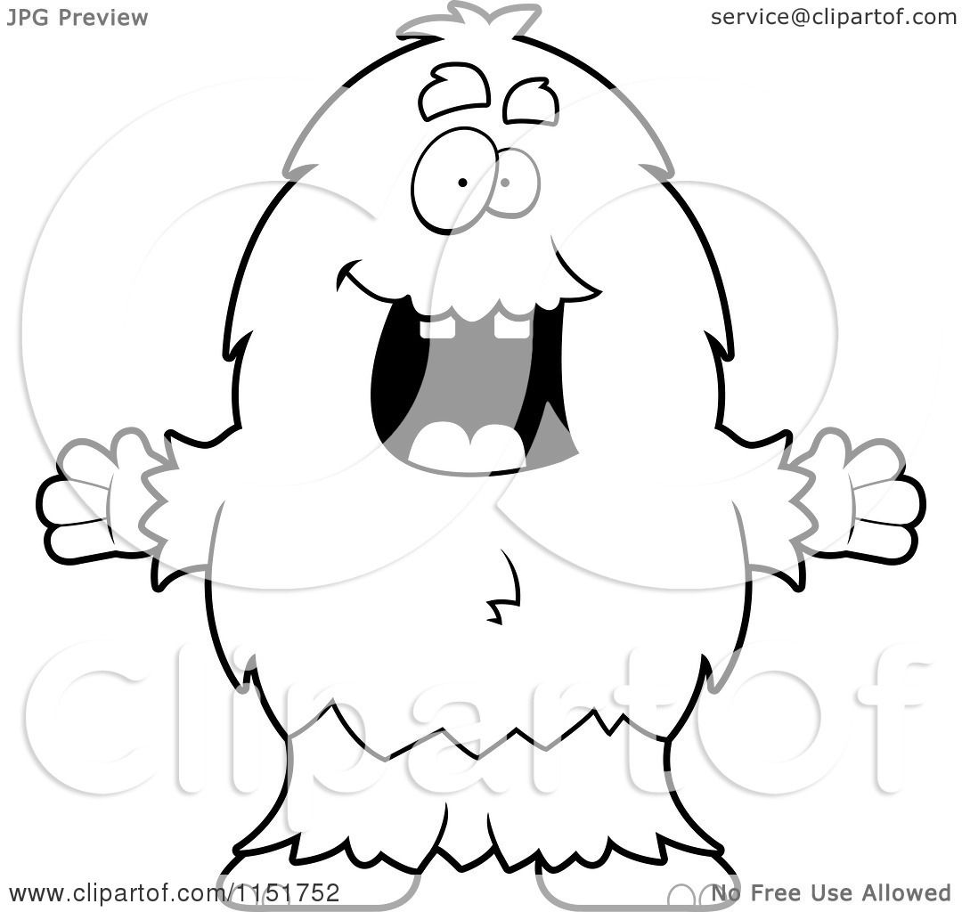 Cartoon Clipart Of A Black And White Furry Monster Holding