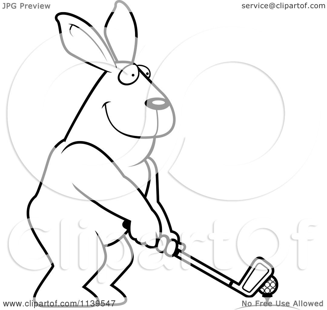 Cartoon Clipart Of A Black And White Golfing Rabbit Holding The Club Against The Ball On The Tee