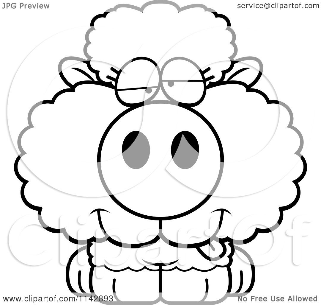 Cartoon Clipart Of A Black And White Goofy Baby Sheep