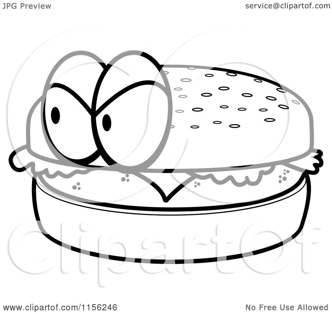 Cartoon Clipart Of A Black And White Grumpy Hamburger