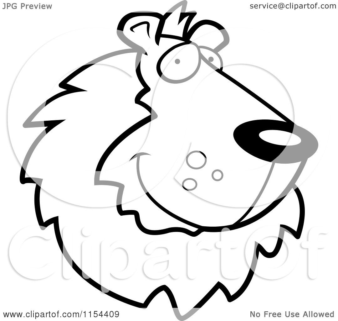 Cartoon Clipart Of A Black And White Handsome Lion Face