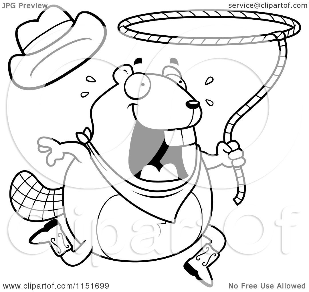 Cartoon Clipart Of A Black And White Happy Beaver Swinging