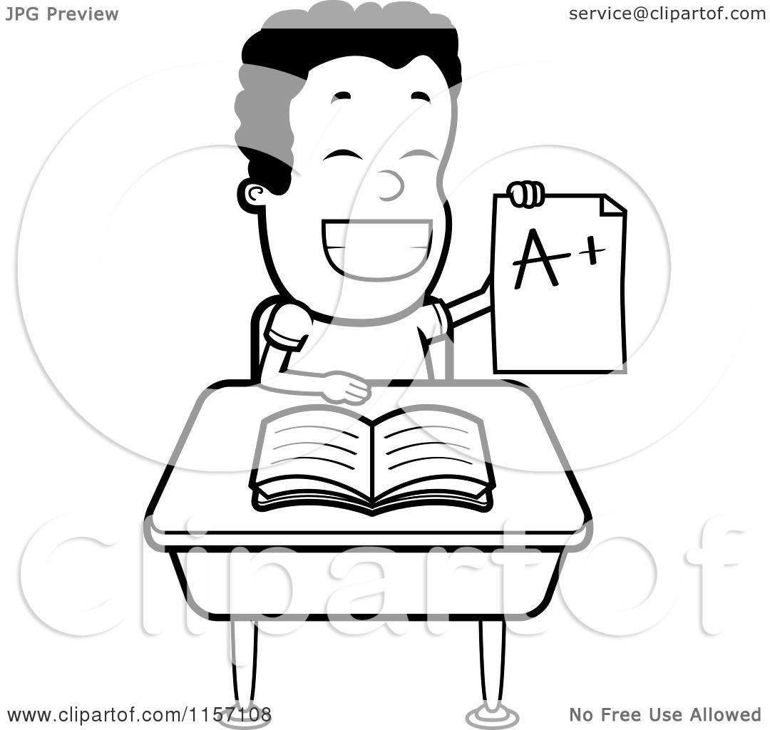 Cartoon Clipart Of A Black And White Happy Boy Holding Up An A Plus Report Card At His Desk