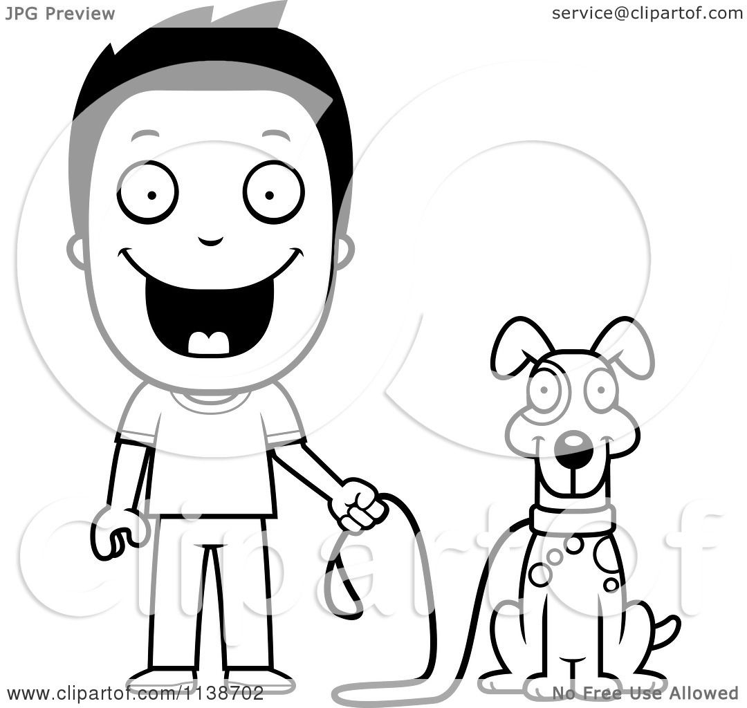 Cartoon Clipart Of A Black And White Happy Boy Ready To Walk His Dog