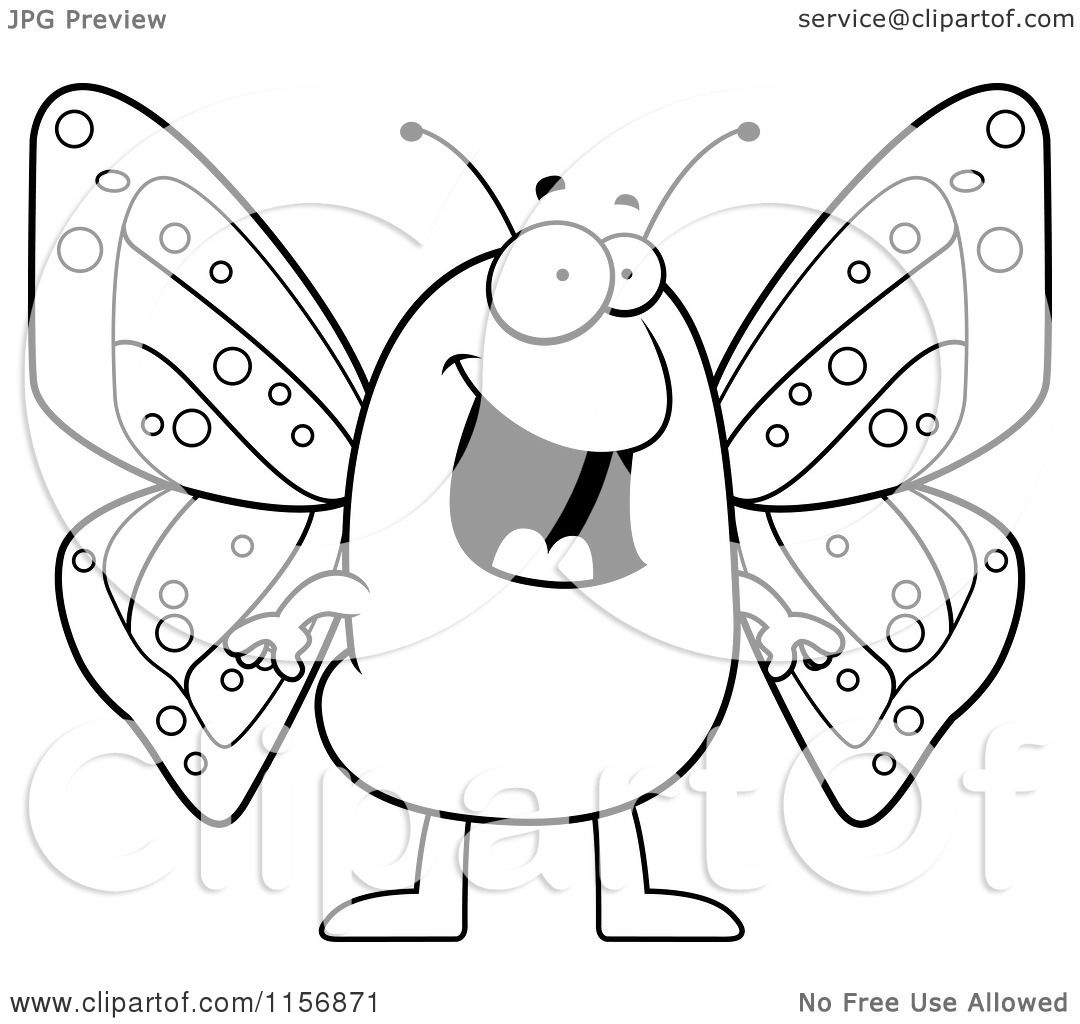 Cartoon Clipart Of A Black And White Happy Butterfly