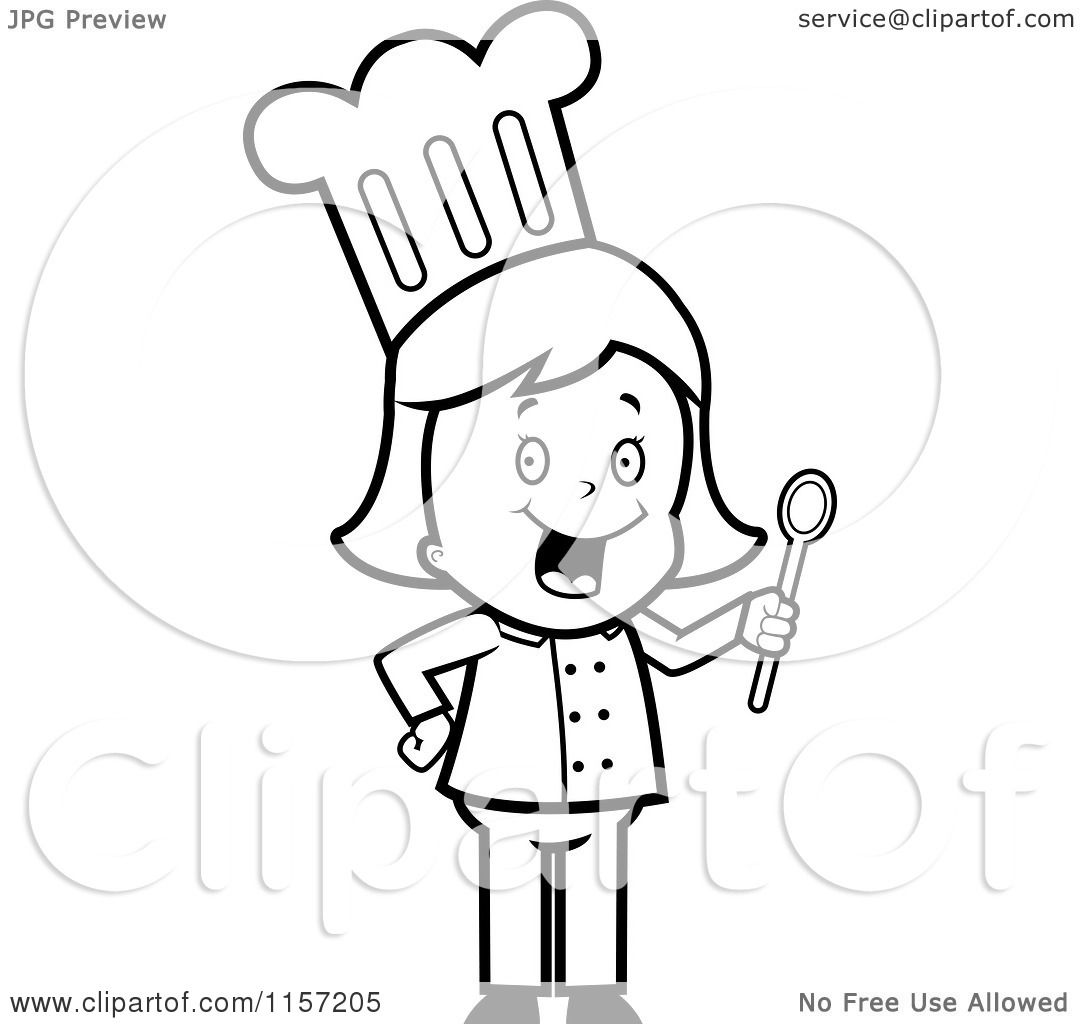Cartoon Clipart Of A Black And White Happy Chef Woman Holding A Spoon