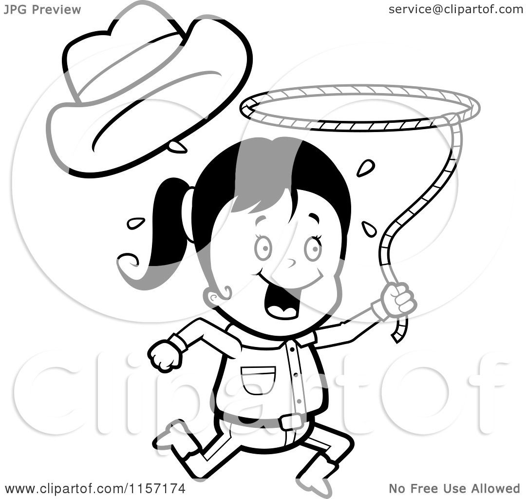 Cartoon Clipart Of A Black And White Happy Cowgirl Running