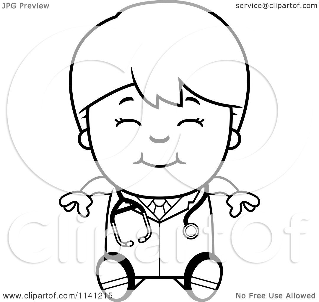 Cartoon Clipart Of A Black And White Happy Doctor Or