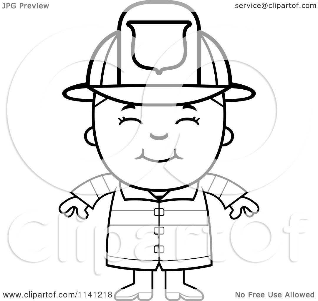 Cartoon Clipart Of A Black And White Happy Fire Fighter