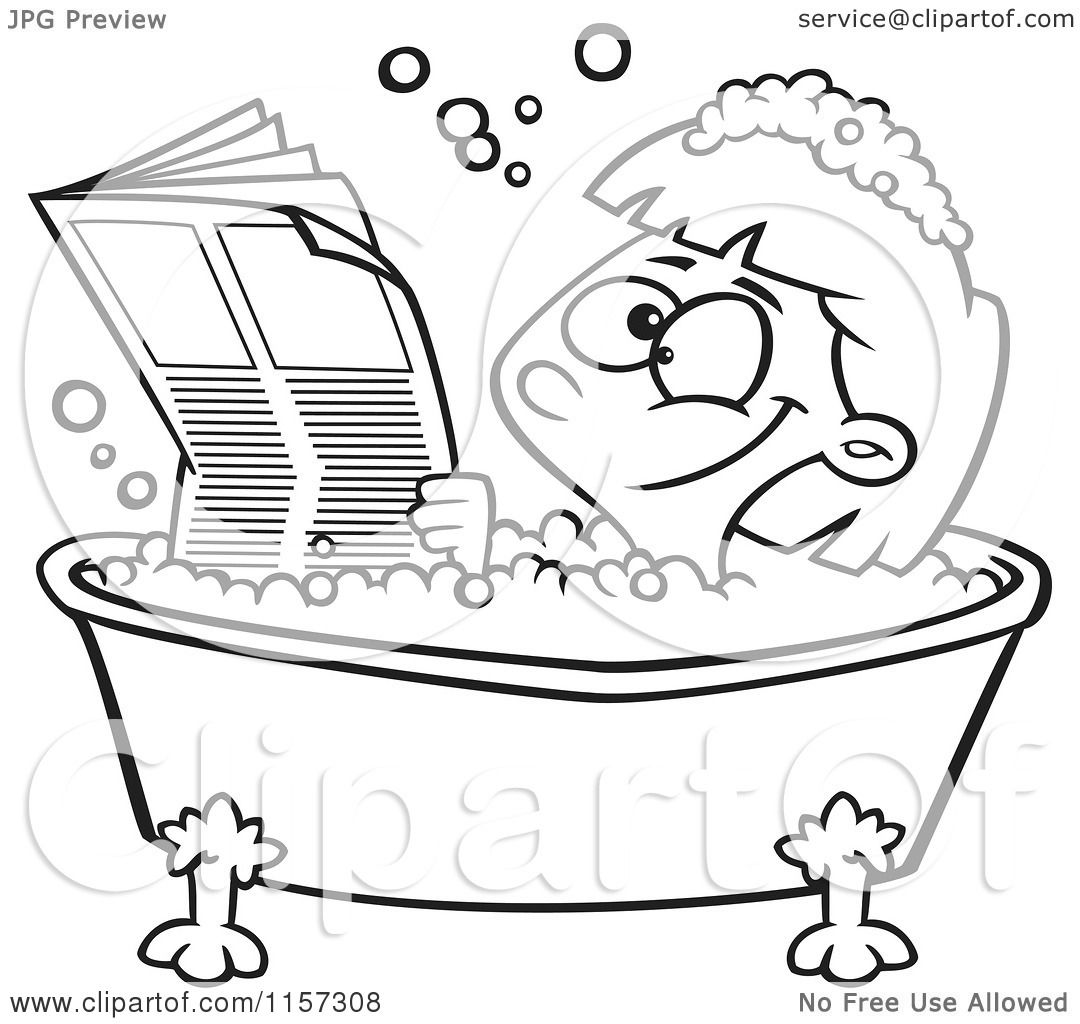 Cartoon Clipart Of A Black And White Happy Girl Reading The Newspaper In A Bath Tub