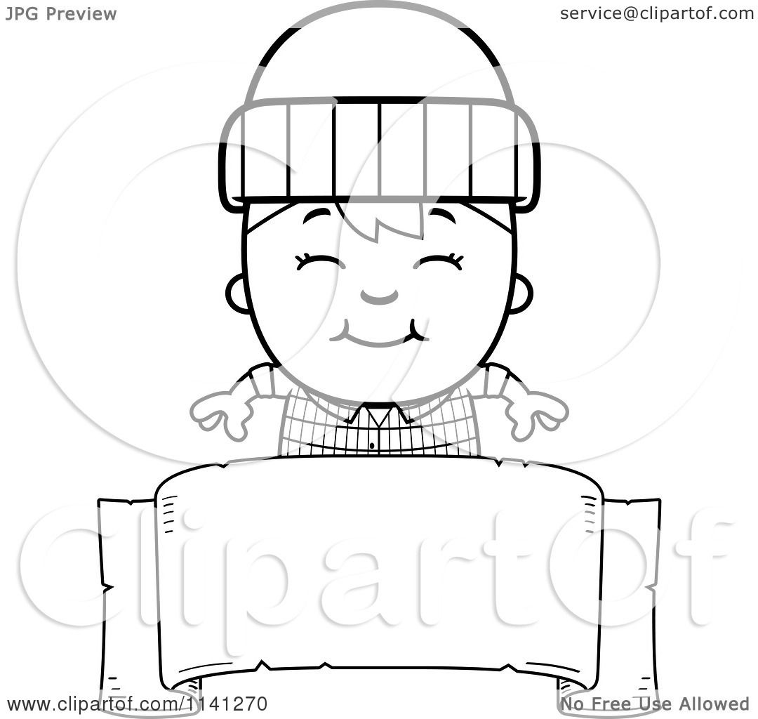 Cartoon Clipart Of A Black And White Happy Lumberjack Boy