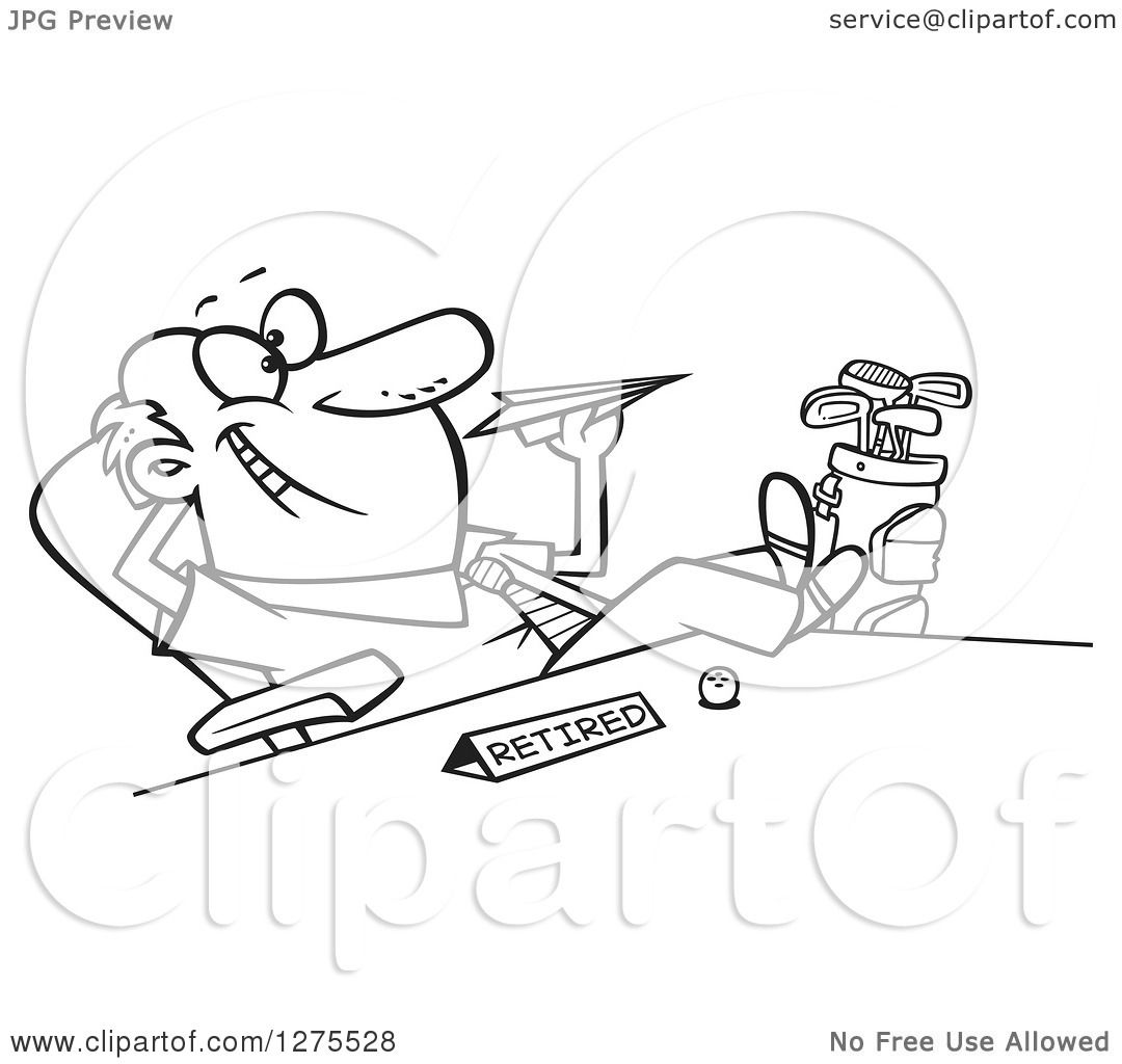 Cartoon Clipart Of A Black And White Happy Retired