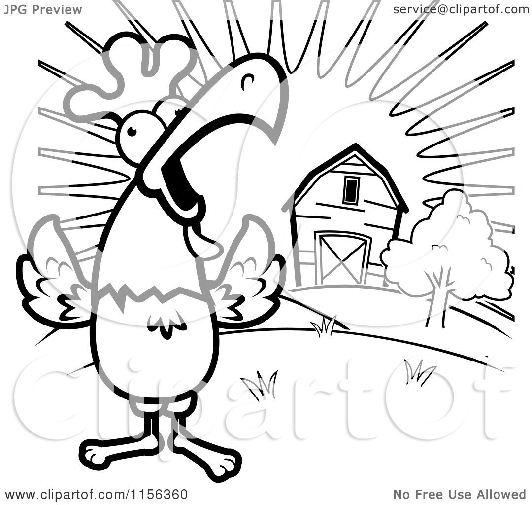 Cartoon Clipart Of A Black And White Happy Rooster Crowing Loudly By A Farm At Sunrise