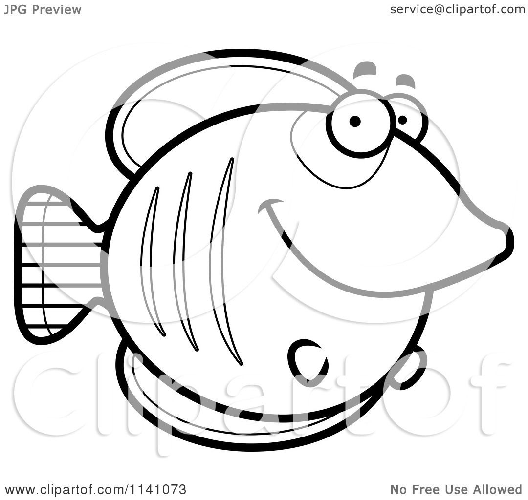 Cartoon Clipart Of A Black And White Happy Smiling Butterflyfish