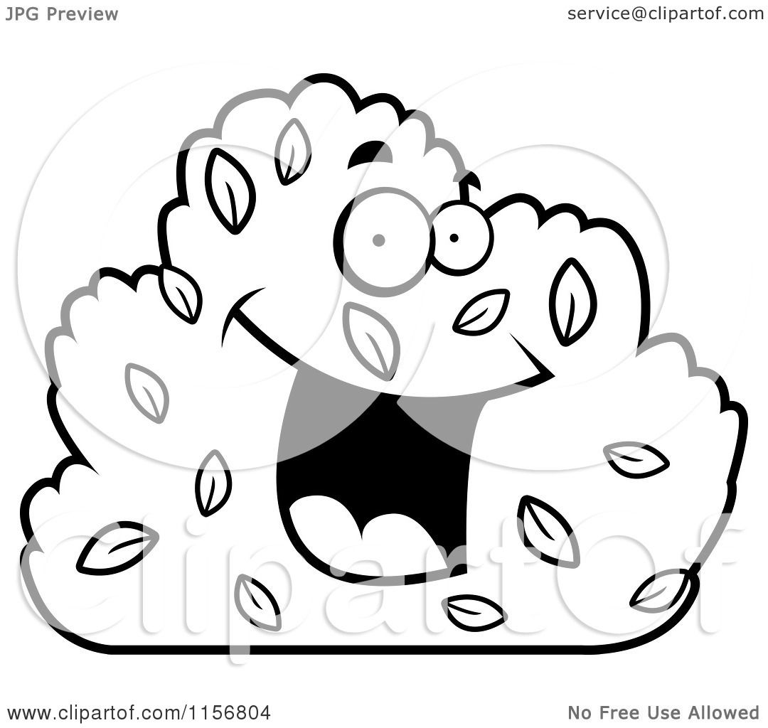 Cartoon Clipart Of A Black And White Happy Smiling Shrub