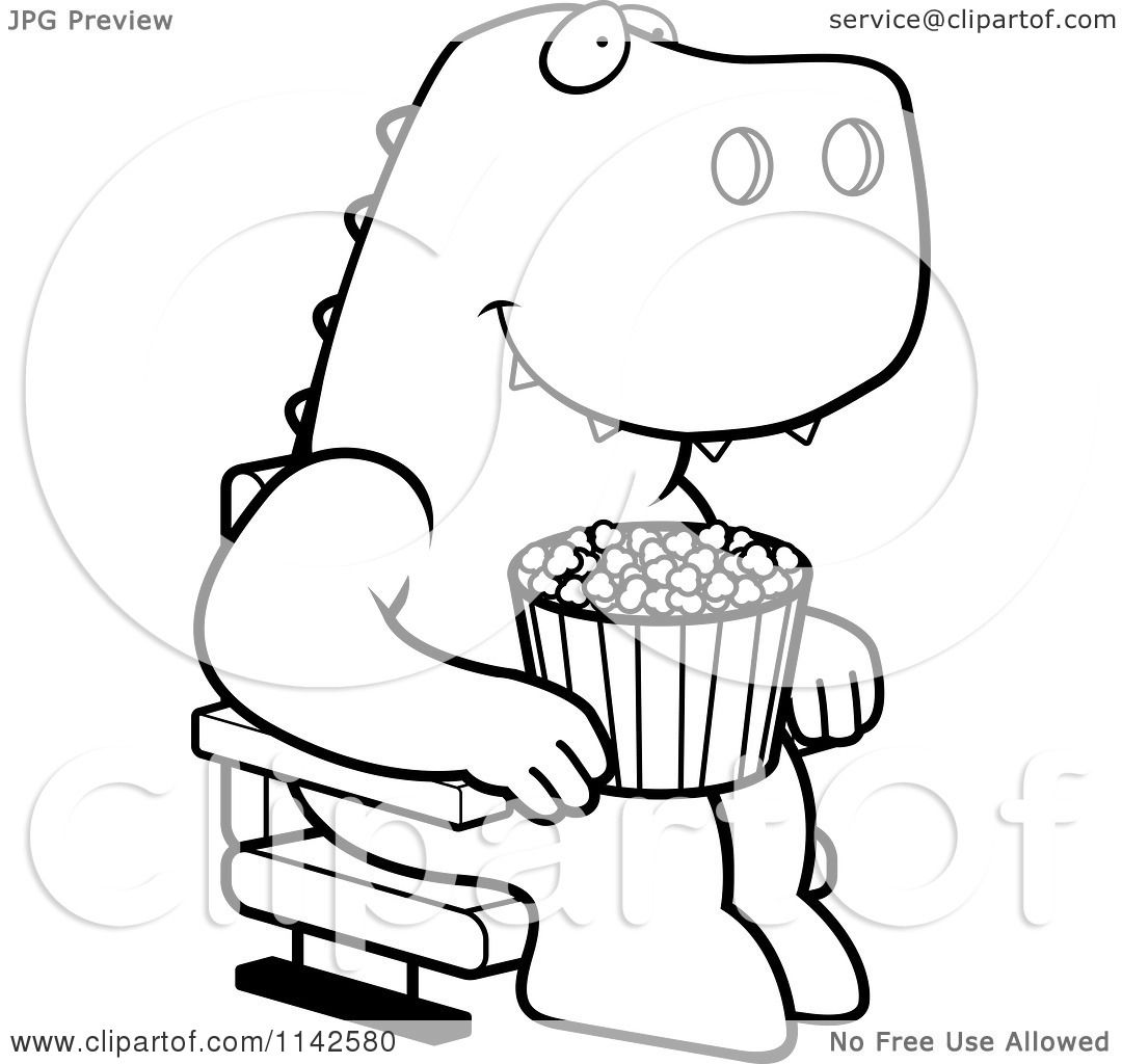 Cartoon Clipart Of A Black And White Happy T Rex With Popcorn At The Movie Theater