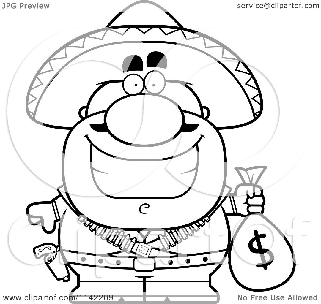 Cartoon Clipart Of A Black And White Hispanic Bandit Holding A Money Bag