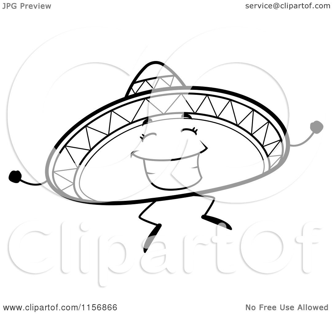 Cartoon Clipart Of A Black And White Jumping Sombrero Hat