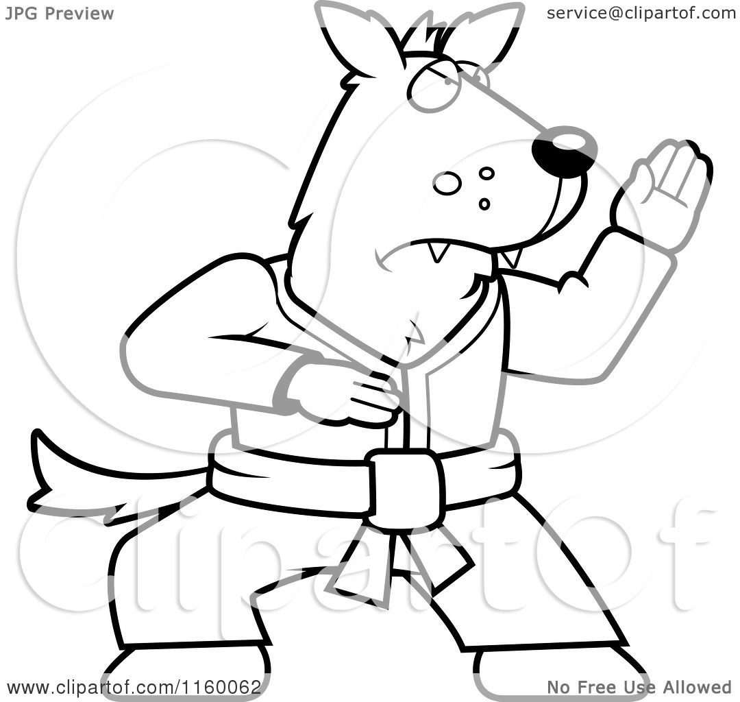 Cartoon Clipart Of A Black And White Karate Wolf