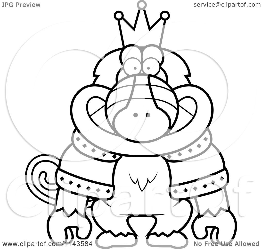Cartoon Clipart Of A Black And White King Baboon Wearing A