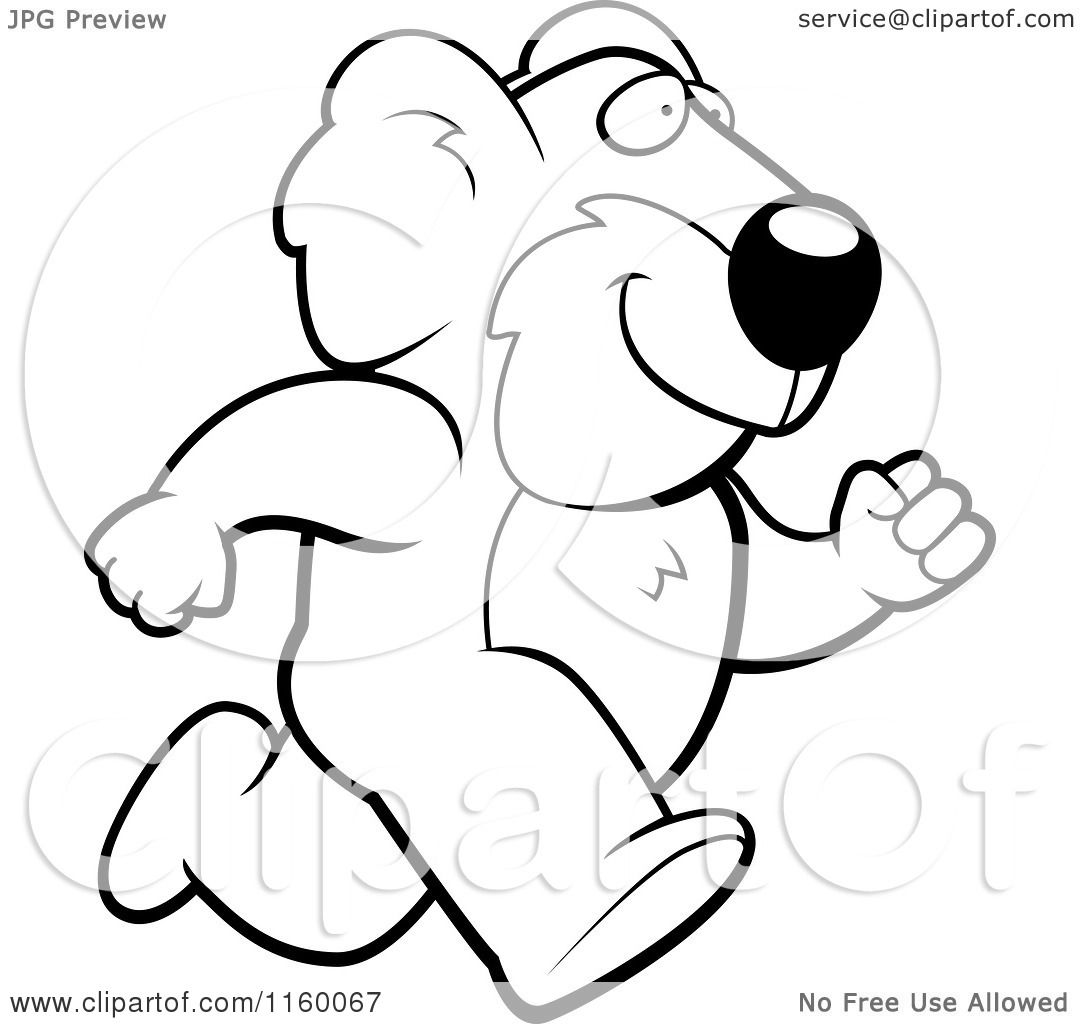 Cartoon Clipart Of A Black And White Koala Running Upright