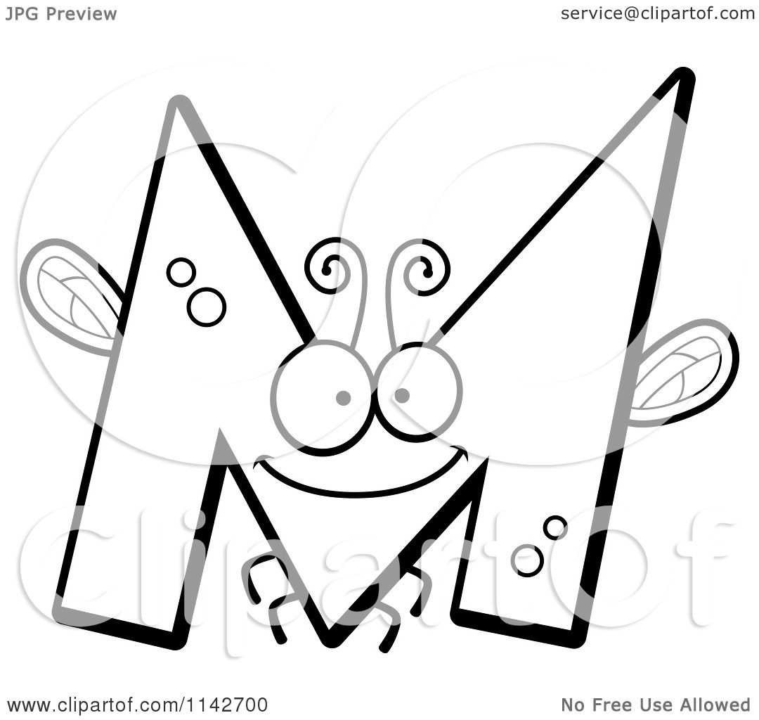 Cartoon Clipart Of A Black And White Letter M Bug