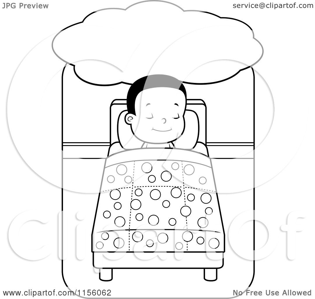 Cartoon Clipart Of A Black And White Little Boy Dreaming And Sleeping In Bed
