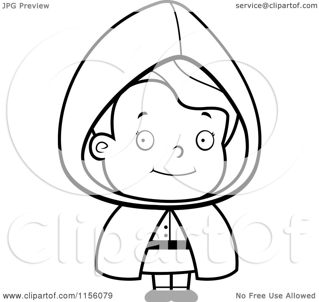 Cartoon Clipart Of A Black And White Little Red Riding