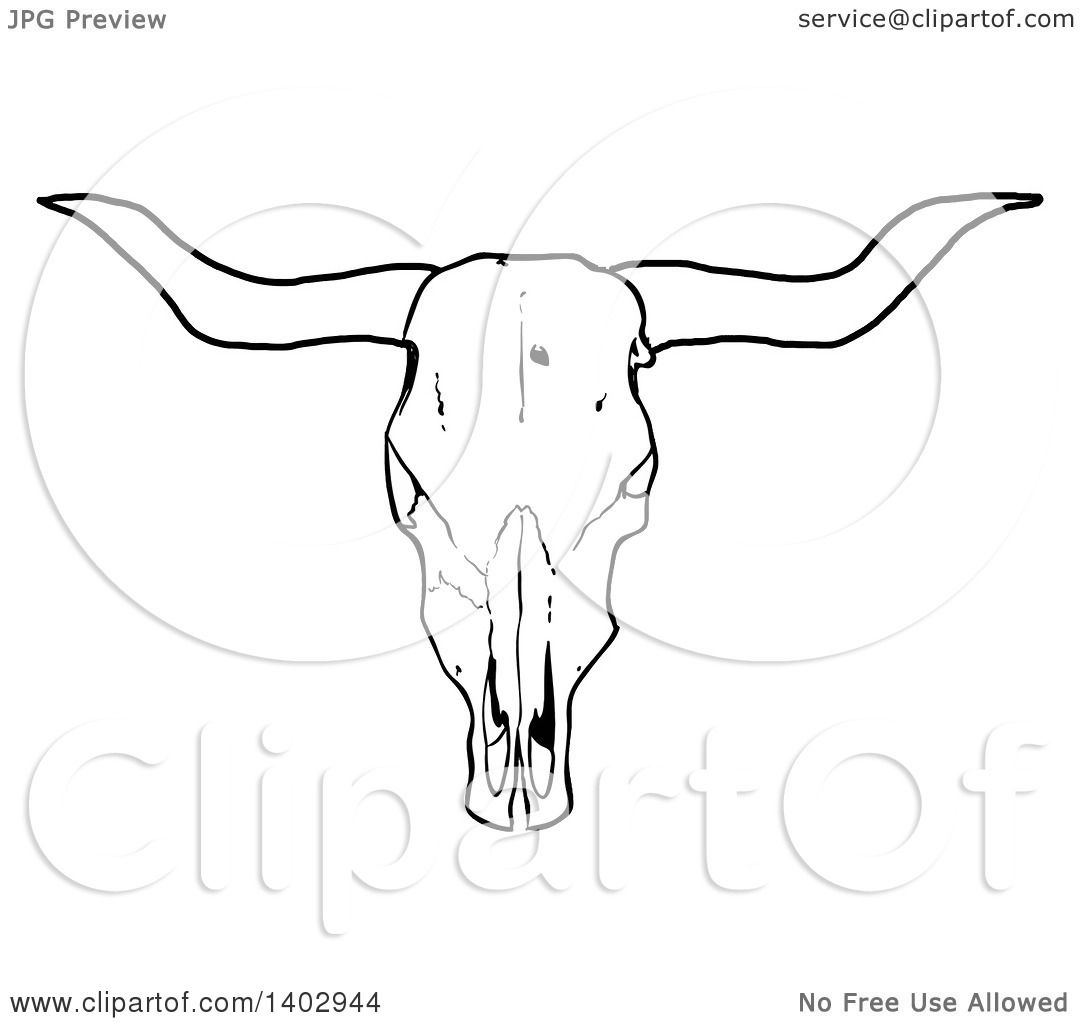 Cartoon Clipart Of A Black And White Long Horn Steer Cow