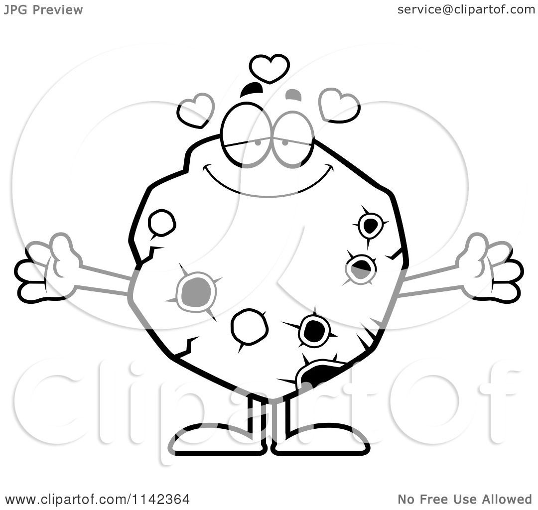 Cartoon Clipart Of A Black And White Loving Asteroid