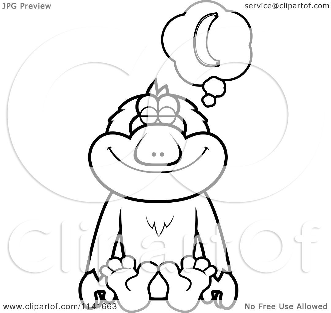 Cartoon Clipart Of A Black And White Macaque Monkey Daydreaming Of Bananas
