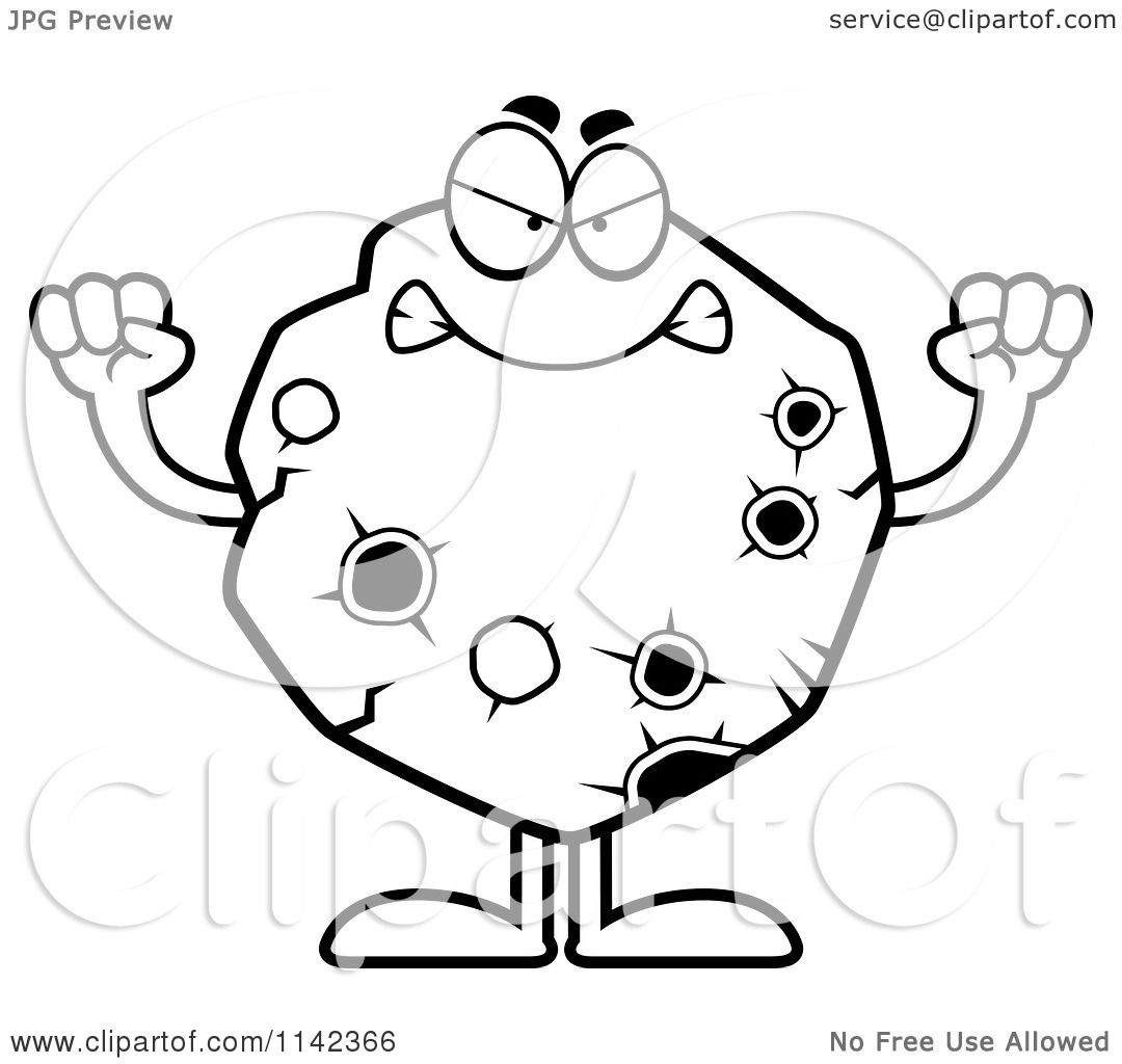 Cartoon Clipart Of A Black And White Mad Asteroid
