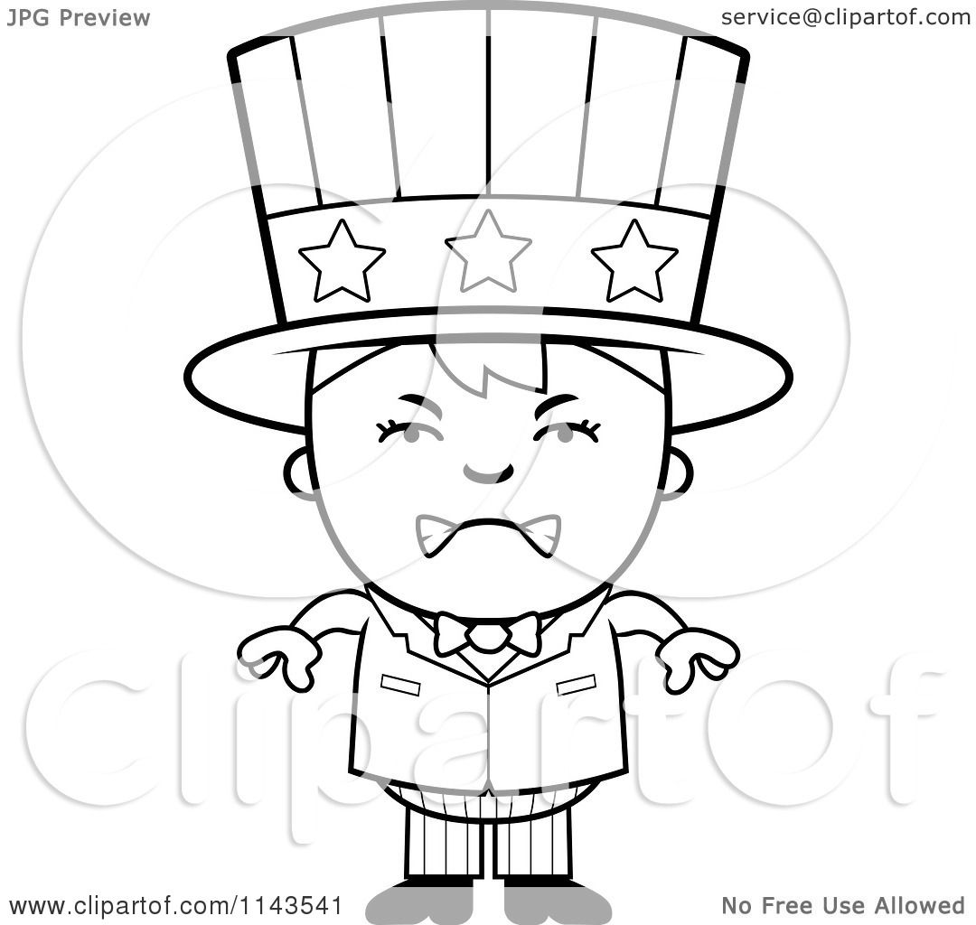 Cartoon Clipart Of A Black And White Mad Uncle Sam Boy