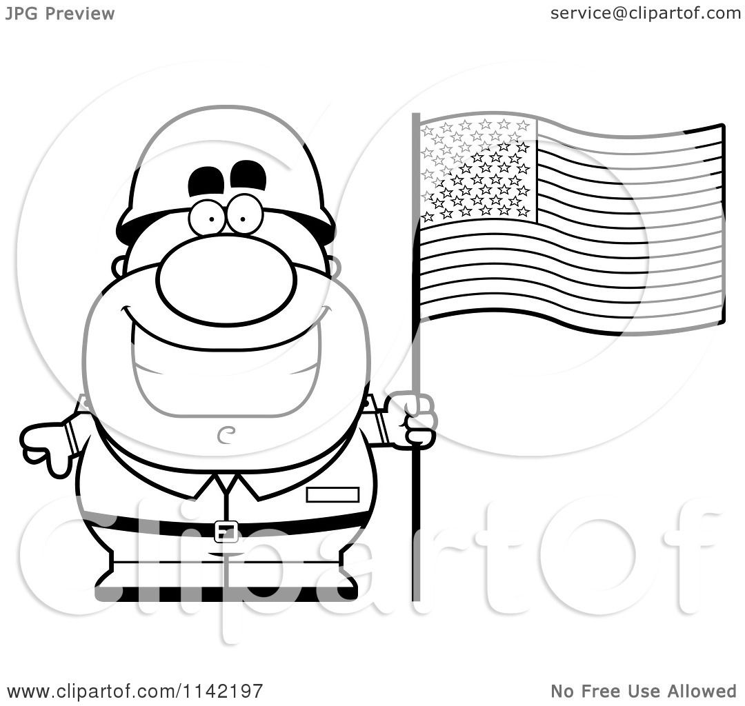 Cartoon Clipart Of A Black And White Male Army Sol R