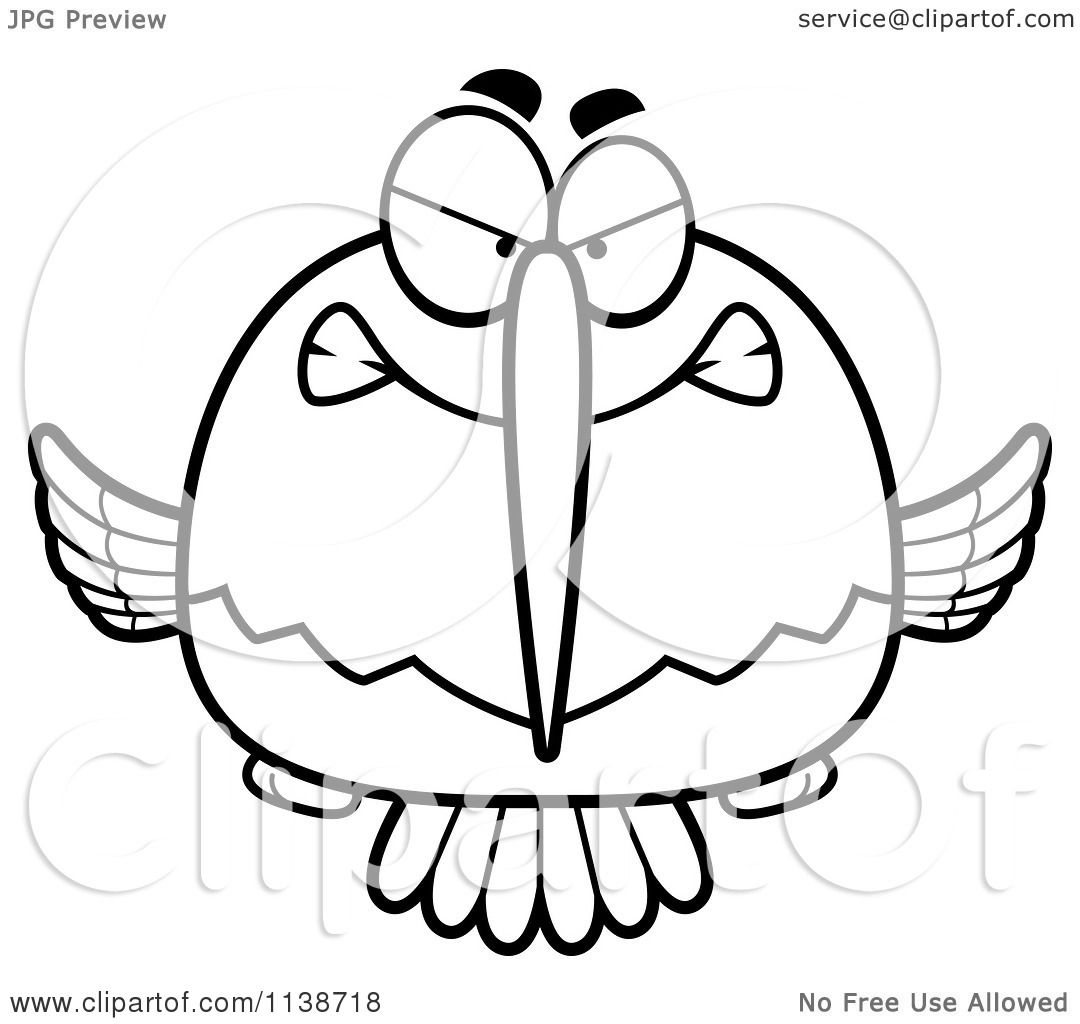 Cartoon Clipart Of A Black And White Mean Angry