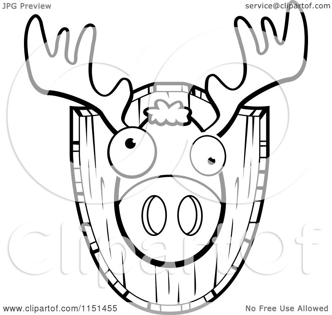 Cartoon Clipart Of A Black And White Mounted Trophy Deer