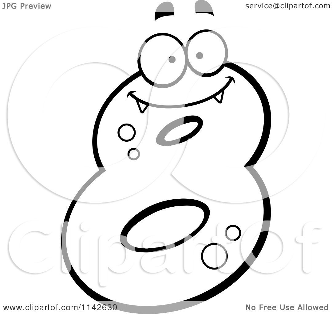 Cartoon Clipart Of A Black And White Number Eight