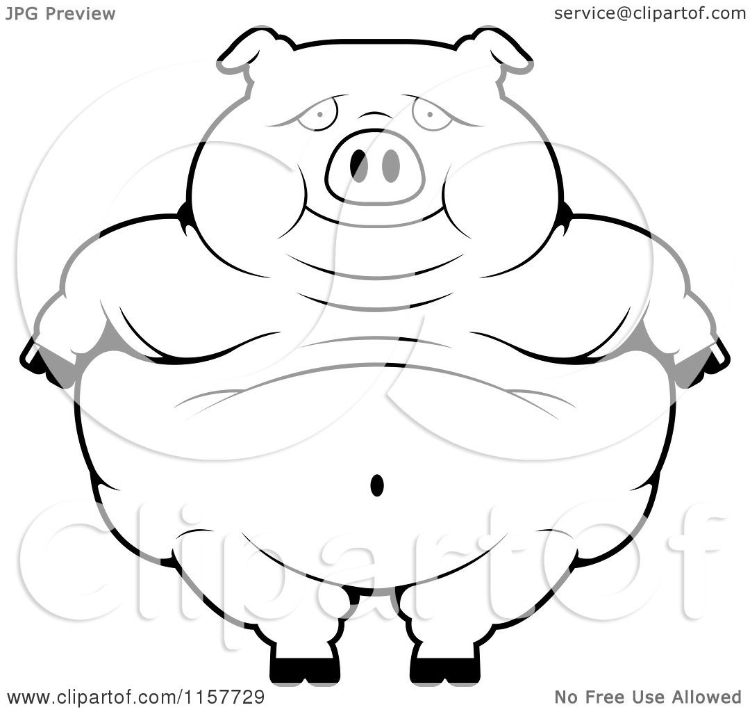 Cartoon Clipart Of A Black And White Obese Pig Standing