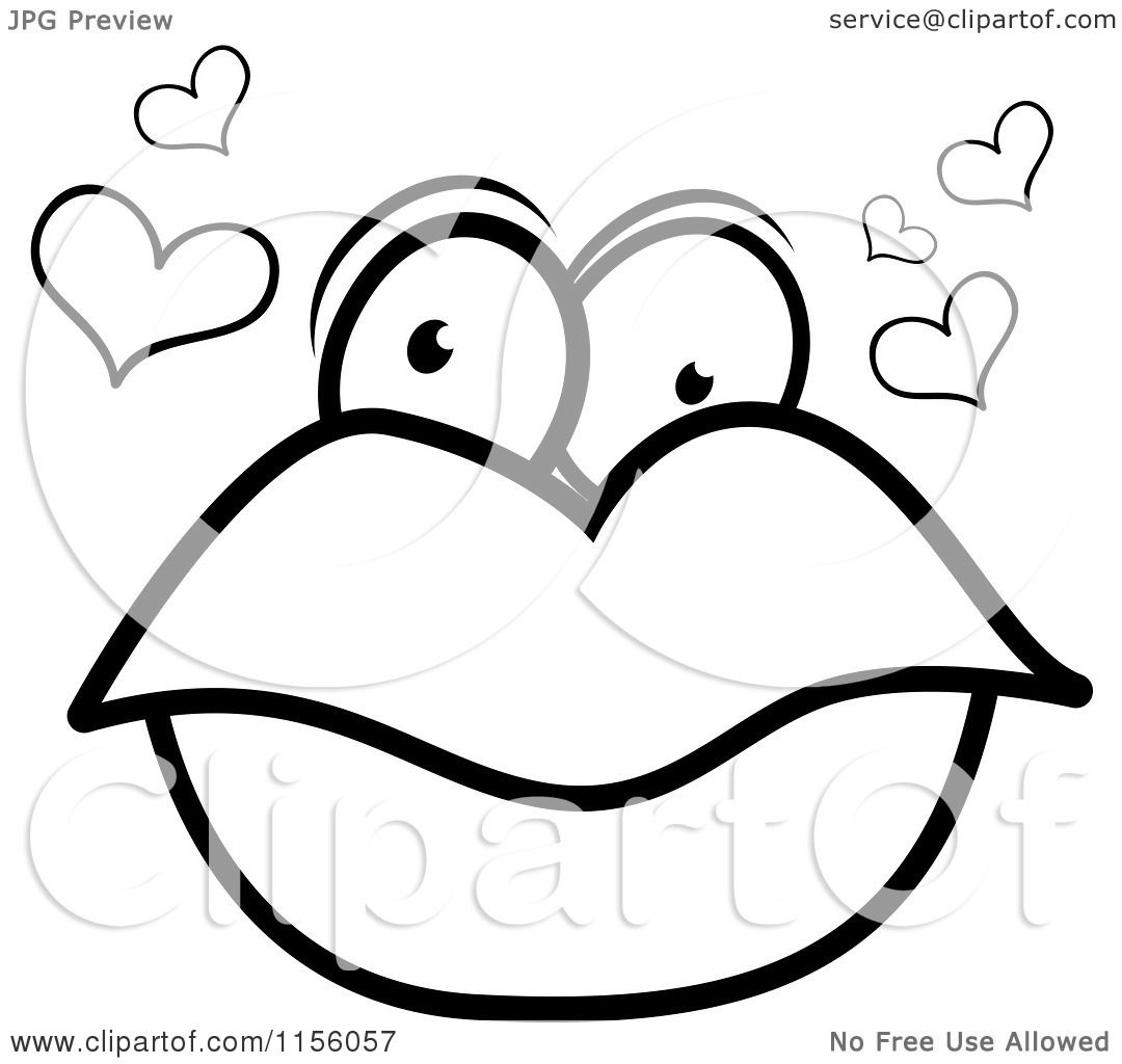 Cartoon Clipart Of A Black And White Pair Of Lips With