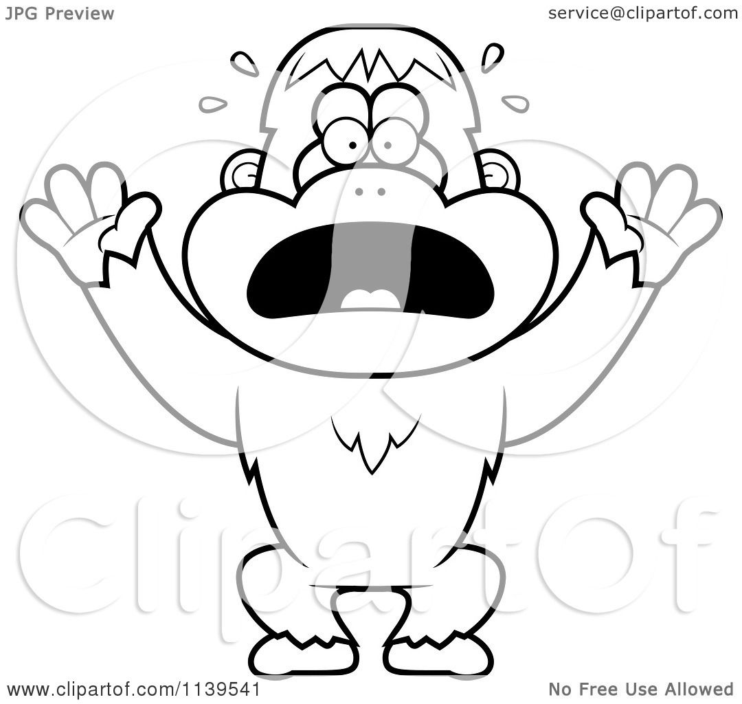 Cartoon Clipart Of A Black And White Panicking Orangutan Monkey