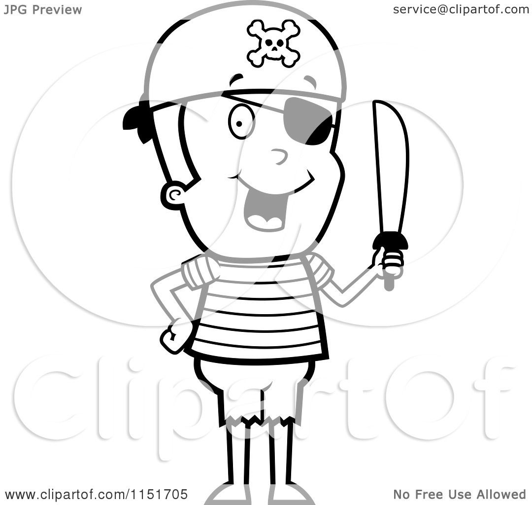 Cartoon Clipart Of A Black And White Pirate Boy Holding A