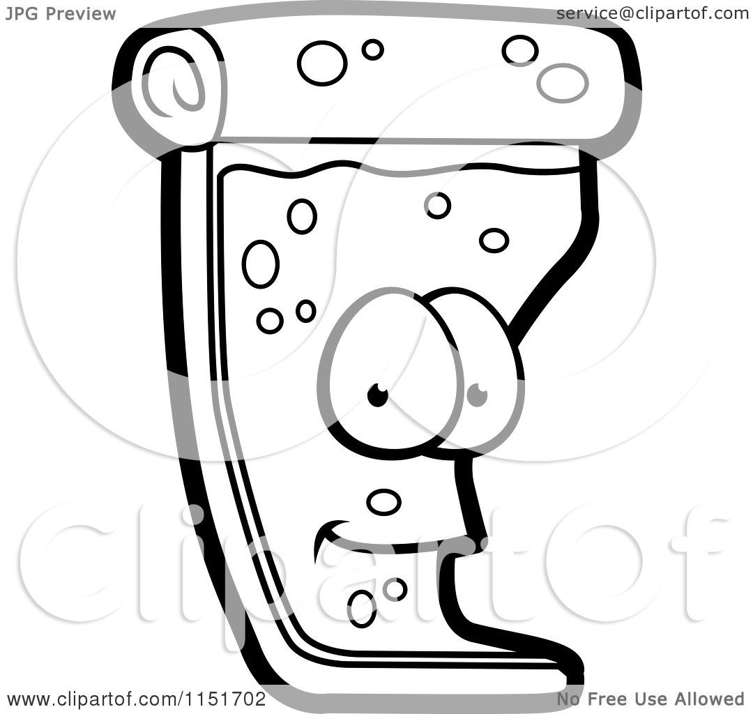 Cartoon Clipart Of A Black And White Pizza Slice Mascot