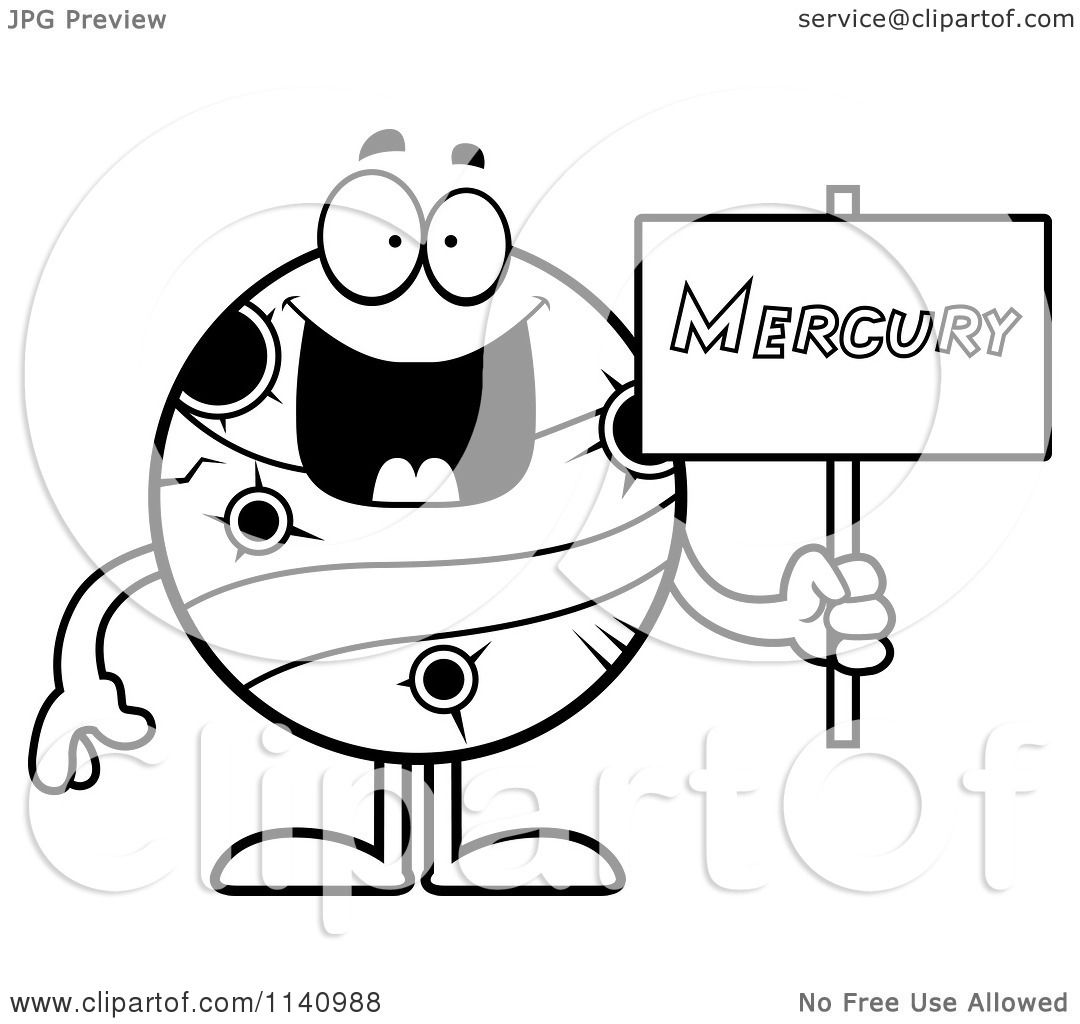 Cartoon Clipart Of A Black And White Planet Mercury Holding A Sign