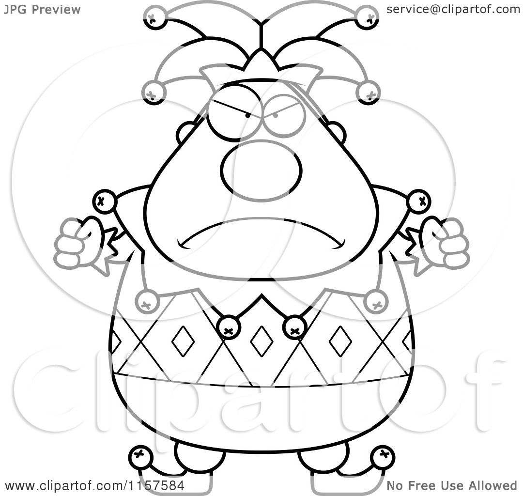 Cartoon Clipart Of A Black And White Pudgy Mad Jester