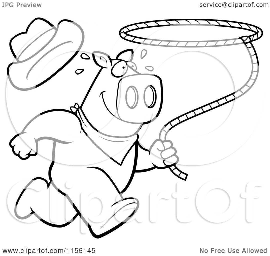 Cartoon Clipart Of A Black And White Rodeo Pig Running