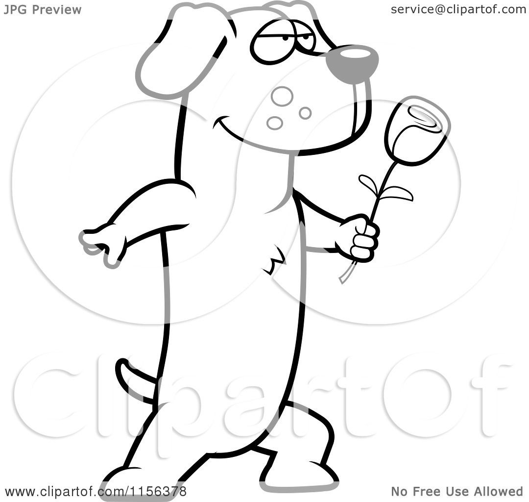 Cartoon Clipart Of A Black And White Romantic Dachshund